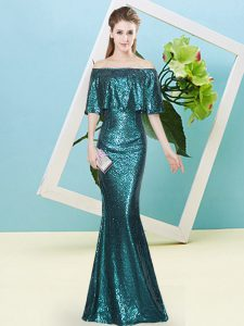 Simple Off The Shoulder Sleeveless Zipper Prom Gown Teal Sequined