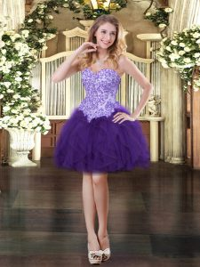 Comfortable Ball Gowns Prom Gown Purple Sweetheart Tulle Sleeveless Mini Length Lace Up