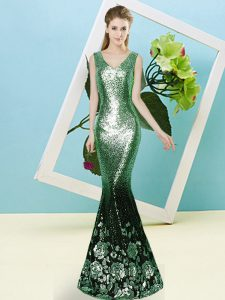 Popular Mermaid Sequins Prom Party Dress Zipper Sequined Sleeveless Floor Length