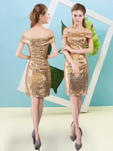 Gold Prom and Party with Sequins Off The Shoulder Short Sleeves Zipper