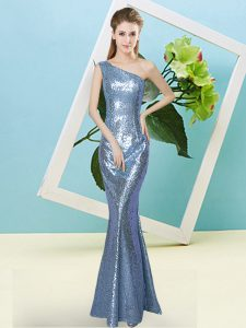 Customized Baby Blue Zipper One Shoulder Sequins Sequined Sleeveless