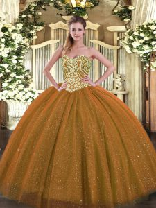 Beading Quinceanera Dress Brown Lace Up Sleeveless Floor Length