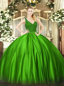 Amazing V-neck Zipper Beading Quince Ball Gowns Sleeveless