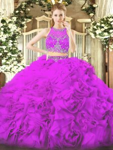 Floor Length Lilac Quinceanera Gowns Fabric With Rolling Flowers Sleeveless Beading