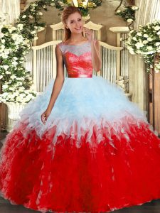 Nice Multi-color Scoop Backless Lace and Ruffles Quince Ball Gowns Sleeveless