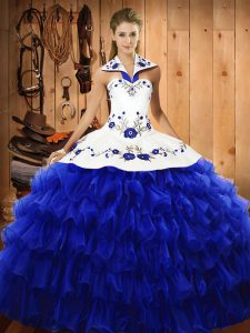 Stylish Royal Blue Ball Gowns Organza Halter Top Sleeveless Embroidery and Ruffled Layers Floor Length Lace Up Vestidos de Quinceanera