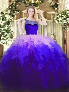 Floor Length Zipper Ball Gown Prom Dress Multi-color for Sweet 16 and Quinceanera with Beading and Ruffles