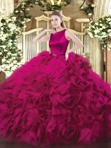 Custom Fit Fuchsia Ball Gowns Belt Quinceanera Gown Clasp Handle Fabric With Rolling Flowers Sleeveless Floor Length