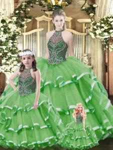 Free and Easy Green Halter Top Lace Up Beading and Ruffled Layers Sweet 16 Quinceanera Dress Sleeveless