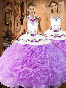 Halter Top Sleeveless Sweet 16 Dress Floor Length Embroidery Lilac Fabric With Rolling Flowers