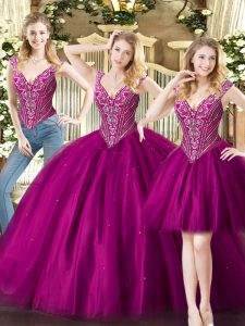 Floor Length Fuchsia Quinceanera Dress V-neck Sleeveless Lace Up
