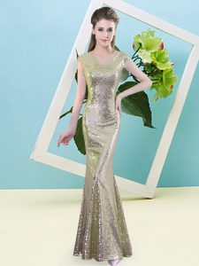 Ideal Mermaid Prom Party Dress Yellow V-neck Sequined Cap Sleeves Floor Length Zipper