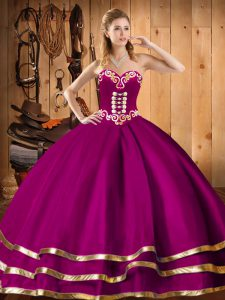 Elegant Floor Length Fuchsia Quinceanera Gowns Sweetheart Sleeveless Lace Up