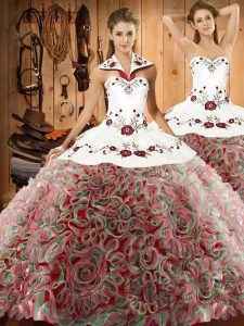 Sumptuous Sleeveless Embroidery Lace Up 15th Birthday Dress with Multi-color Sweep Train