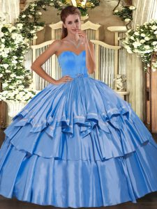 Glorious Sleeveless Lace Up Floor Length Beading and Ruffled Layers Quinceanera Gowns