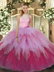 Cheap High-neck Sleeveless Tulle Quinceanera Gown Beading and Ruffles Backless
