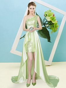 High Low Empire Sleeveless Yellow Green Homecoming Dress Lace Up