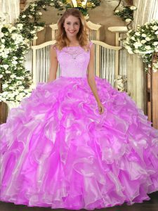 Organza Scoop Sleeveless Clasp Handle Lace and Ruffles 15 Quinceanera Dress in Lilac
