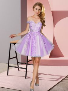 Sweet Lavender A-line Tulle Off The Shoulder Sleeveless Appliques Mini Length Zipper Court Dresses for Sweet 16