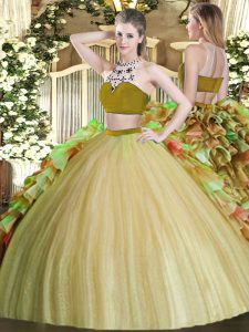 Deluxe Tulle Bateau Sleeveless Backless Beading and Ruffles 15 Quinceanera Dress in Olive Green