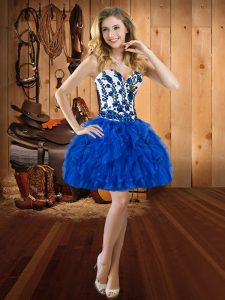 Royal Blue Sleeveless Organza Lace Up Dress for Prom for Prom and Party