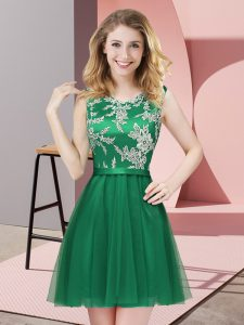Mini Length A-line Sleeveless Dark Green Quinceanera Court of Honor Dress Side Zipper