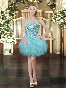 Aqua Blue Sleeveless Tulle Lace Up Prom Gown for Prom and Party
