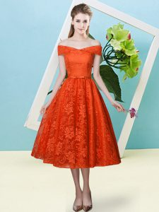Glamorous Empire Dama Dress Rust Red Off The Shoulder Lace Cap Sleeves Tea Length Lace Up