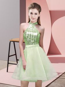 Sophisticated Yellow Green A-line Chiffon Halter Top Sleeveless Sequins Mini Length Backless Quinceanera Dama Dress