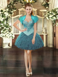 Custom Fit Teal Sweetheart Lace Up Beading and Ruffles Prom Gown Sleeveless