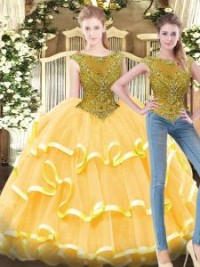 Elegant Bateau Sleeveless Zipper Sweet 16 Dresses Gold Tulle