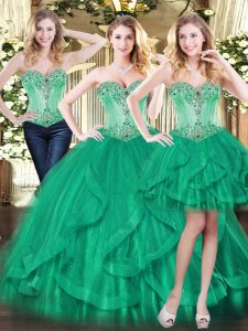 Superior Sweetheart Sleeveless Lace Up Quinceanera Gown Green Tulle