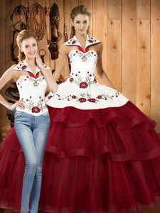 Dazzling Sleeveless With Train Embroidery and Ruffled Layers Lace Up Quinceanera Dress with Wine Red Sweep Train