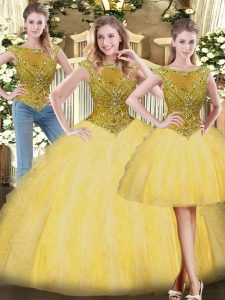 Romantic Gold Sleeveless Beading and Ruffles Floor Length Quinceanera Dresses