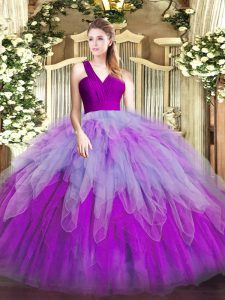 Perfect Sleeveless Floor Length Ruffles Zipper 15th Birthday Dress with Multi-color