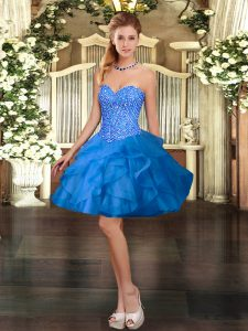 Fantastic Blue Sweetheart Neckline Beading and Ruffles Prom Evening Gown Sleeveless Lace Up