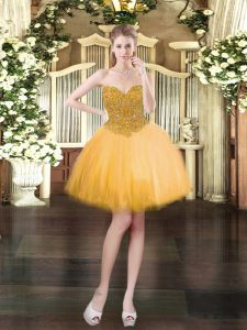 Perfect Beading Prom Gown Gold Lace Up Sleeveless Mini Length