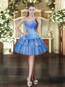 Luxurious Baby Blue Sleeveless Mini Length Beading and Ruffled Layers Lace Up Prom Gown