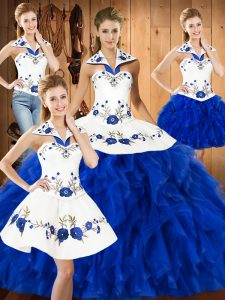 Halter Top Sleeveless Lace Up Quinceanera Dresses Blue And White Satin and Organza