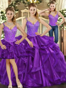 Hot Selling Purple Sleeveless Beading and Ruffles Floor Length 15 Quinceanera Dress