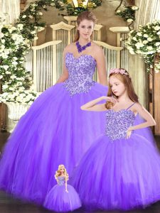 Fabulous Eggplant Purple Tulle Lace Up Sweetheart Sleeveless Floor Length Quinceanera Dress Beading