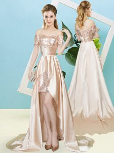 Enchanting Champagne Short Sleeves High Low Sequins Lace Up Prom Party Dress