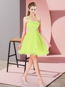 Traditional Yellow Green Asymmetric Neckline Beading and Hand Made Flower Prom Dress Sleeveless Zipper