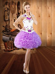 Lilac Sleeveless Embroidery Mini Length Homecoming Dress