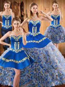 Luxury Sleeveless Sweep Train Embroidery Lace Up Vestidos de Quinceanera