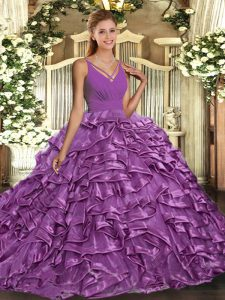 Wonderful Lilac Sleeveless Sweep Train Ruffles With Train Sweet 16 Quinceanera Dress