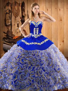 Multi-color Ball Gowns Satin and Fabric With Rolling Flowers Sweetheart Sleeveless Embroidery With Train Lace Up Quince Ball Gowns Sweep Train