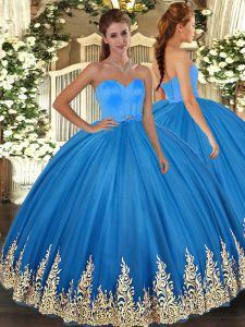 Stylish Blue Ball Gowns Tulle Sweetheart Sleeveless Appliques Floor Length Lace Up 15 Quinceanera Dress