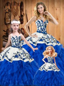 Sleeveless Satin and Organza Floor Length Lace Up 15th Birthday Dress in Blue with Embroidery and Ruffles