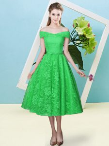 Trendy Tea Length Lace Up Vestidos de Damas Green for Prom and Party and Wedding Party with Bowknot